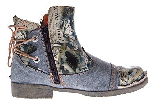 Dames Lederen Enkellaars Comfortabele Laarzen Laarsjes Schoenen Tma 5116/2 Schoenen Gr 36 -. 42 Zwart Grijs