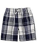 TINFL Men's Plaid Cotton Sleep Lounge Shorts Pajama Pants MSP-13-Navy M