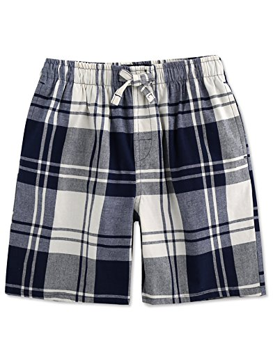 TINFL Boys Plaid Check Soft 100% Cotton Lounge Shorts BSP-08-Navy-YXL