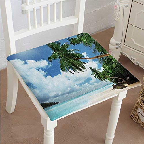 Mikihome Chair Pads Classic Design Decor Palm Leaf and Island Cliff Glass Clear Water Photo Print Art Green Cotton Canvas Futon 14