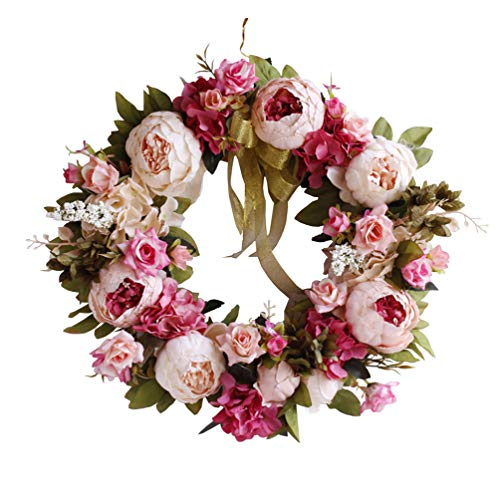 (Yokoke Peony Wreath Rose Floral Twig Wreath 16 Inch Handmade Vintage Artificial Flowers Garland Front Door Wreath Beautiful Silk For Spring And Summer Wreath Display (pink))