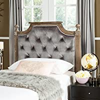Safavieh Home Collection Tufted Velvet Rustic Oak and Grey Headboard (Queen)
