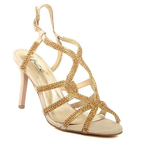 Unze La tarde media del alto talón del dedo del pie del pío de Belaa Diamante de las nuevas mujeres de las mujeres ', Wedding, tamaño de los zapatos del partido del baile de fin de curso 3-8 Gold