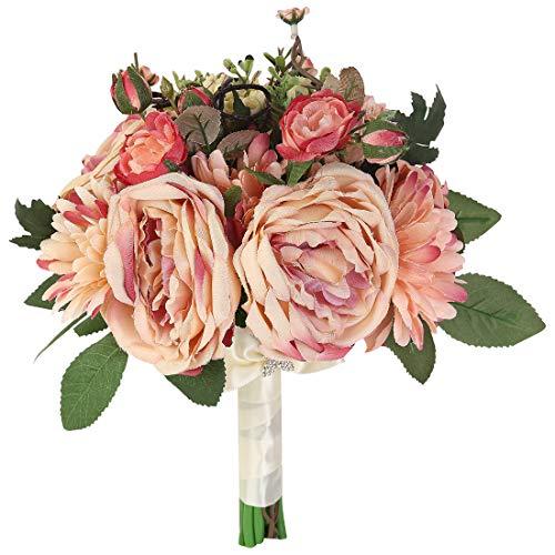 Bridal Bouquet - Bridal Wedding Bouquet Artificial Bride Bridesmaid Bouquets Handmade Vintage Rustic Style Satin Roses Wedding Holding Flower Pink Big