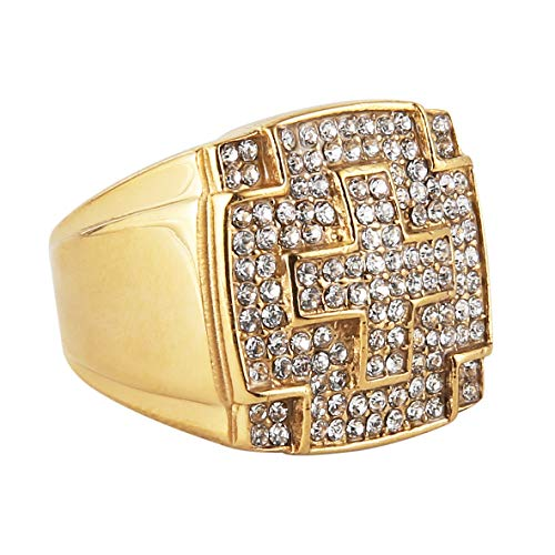 HZMAN Men's Stainless Steel Hip Hop Iced Out Cubic Zirconia Square Cross Rings Micro Pave CZ Wedding Bands