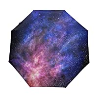 My Daily Colorful Galaxy Star And Nebula Universe Travel Auto Open/Close Umbrella with Anti-UV Windproof Lightweight