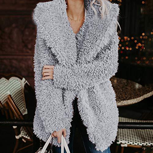 Caopixx Women Winter Warm Fuzzy Long Sleeve Lapel Faux Fur Shaggy Jacket Coat Outerwear Overcoat at Amazon Womens Coats Shop
