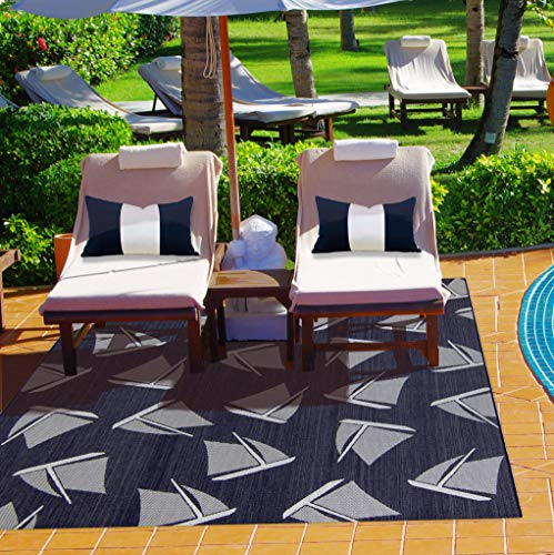 Gertmenian 21625 Nautical Tropical Carpet Outdoor Patio Rug, 5x7 Standard, Navy Sailboat