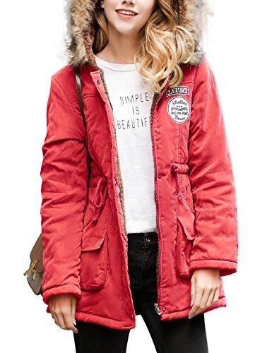 Femme Automne-Hiver Mi-long Manteau  Capuche Parkas Coupe Cintre Coat Lache Veste En Coton paise Manches Longues Trench-Coat Causal Manteaux Chaud Gabardine Outwear YOSICIL Rouge Pastque