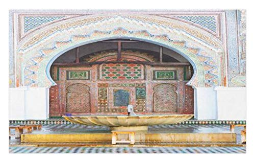 Lunarable Arabian Doormat, Colorful Historical Fountain Photo Morocco Africa Antique Building Palace Heritage, Decorative Polyester Floor Mat with Non-Skid Backing, 30 W X 18 L inches, Multicolor by Lunarable