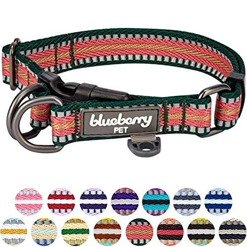 Blueberry Pet 15 Colors 3M Reflective Multi-Colored Stripe Adjustable Dog Collar, Dark Green and Pink, Medium, Neck 14.5