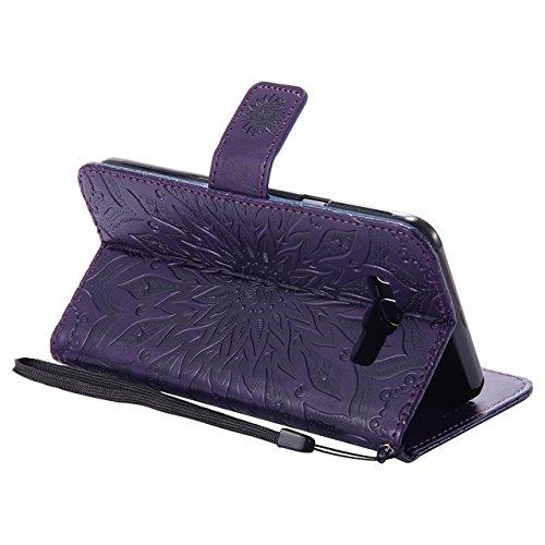 Carcasas y fundas Móviles, Para Samsung Galaxy J7 2016 Case, Sun Flower Diseño de la impresión PU Leather Flip Wallet Lanyard funda protectora con ranura para tarjeta / soporte para Samsung Galaxy J7  Purple