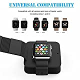 Soft Silicone Wallet Case for iWatch Series 1 2,Carrying Charger Holder Stand Mount Dock Station Protective Cable Storage Travel Case Bag for iWatch 2015 & 2016 (Basic/Sport/Edition) 38MM 42MM,Black