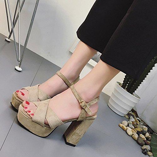 Chaussures Kaki Sandales Mince Taiwan Haut paisse Talons Tide Noir Poisson 39 Talon Yalanshop Vido Impermables Femme fITgqA6