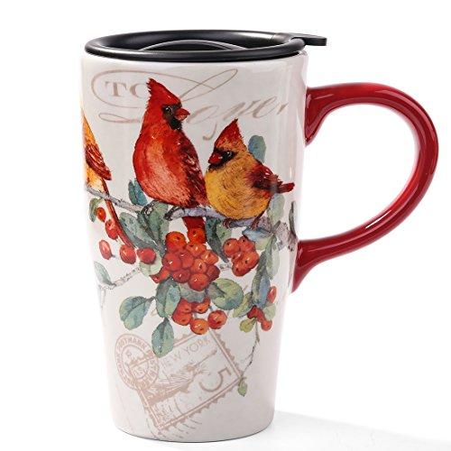 (Minigift Tall Ceramic Travel Coffee Cup/Mug With Lid 17oz- Cardinals Birds)