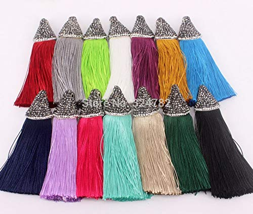 10pcs Fashion Mix Color Silk Tassels,Handmade Tassel Pendant,Pave Rhinestone Cap Silk Tassel for Jewelry Making by DAVITU