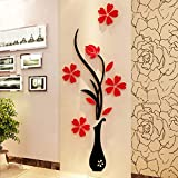 Idealhere 1Pc 3D Vase Flower Tree Crystal Arcylic Wall Stickers Decal Art DIY Home Decor (1#)