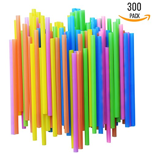FUMCare Jumbo Drinking Straws - Extra Wide - With Recipe E-Book - Set of 300 BPA-Free Straws - Bright Colors - Works for Smoothies, Juices , Protein Shakes, Cocktails and More