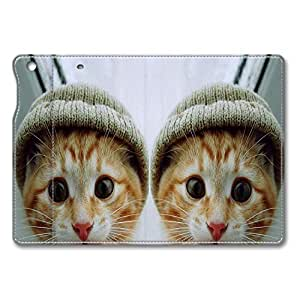 Brain114 iPad Air Case - Full Body Protection Defender Case Cover for iPad Mini Cat With Hat Stand Leather Case Cover for iPad Mini