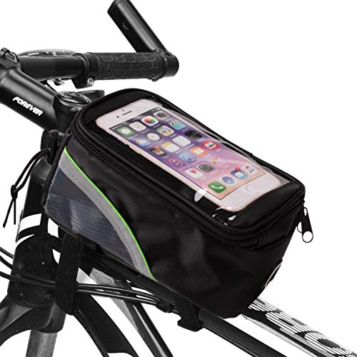 Juvale Bike Phone Bag – Bicycle Frame Bag, Handlebar Front Tube Touch Screen Phone Case, Universal Compatible with 5.5-Inch Smartphones