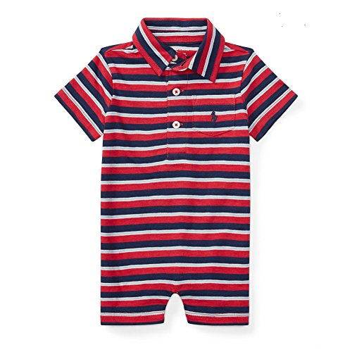 Ralph Lauren Baby Boys' Striped Cotton Polo Shortall (12 Months, Sunrise Red - Lauren Sun