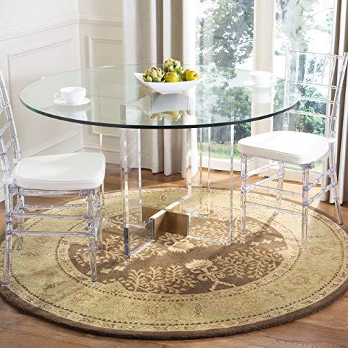 Safavieh Bergama Collection BRG190B Handmade Brown and Green Premium Wool Round Area Rug (4' - Collection 4' Bergama