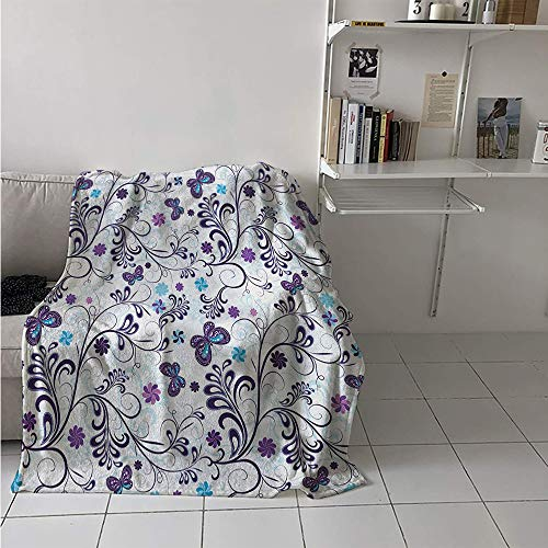 Maisi Throw Blanket, Spring with Flying Inspirational Butterflies and Swirls Branches Design, Digital Printing Blanket 60x36 Inch Dark Purple Pale Blue