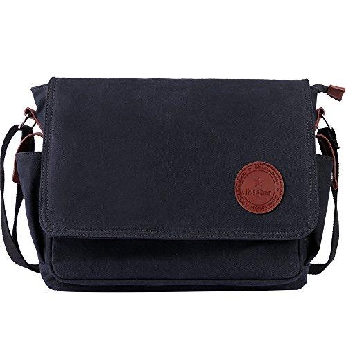 ibagbar Classic Laptop Messenger Bag Shoulder Bag Black
