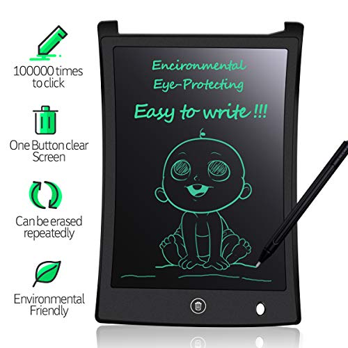 MYMAHDI LCD Writing Tablet, 8.5 inch Doodle Board, Electronic Drawing & Writing Board, with Smart Writing Stylus for Kids Gifts, School,Office, Fridge or Family Memo, Black