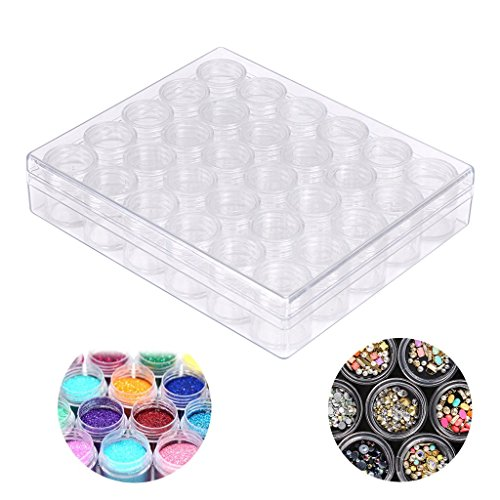 Hipiwe 30 Grids Diamond Embroidery Box Diamond Painting Drills Accessory Boxes Case Container Jewelry Earring Beads Sewing Pills Clear Plastic Storage Organizer for DIY Art Craft by Hipiwe