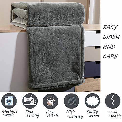 65x90 Inch LBRO2M Fleece Bed Blanket Twin Size Super Soft Warm Fuzzy Velvet Plush Throw Lightweight Cozy Couch Blankets Twin, Coffee