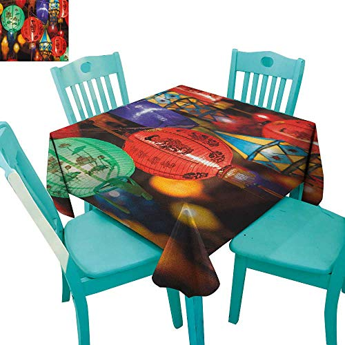 (longbuyer Lantern,Customized Tablecloth,First Night Festival in China Traditional Culture Asian Ethnicity Carnival East,36