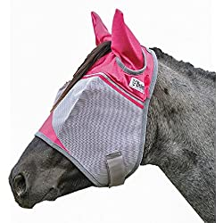 Cashel Crusader Horse Fly Mask with Pink Ears, Benefits Breast Cancer - Size: Warmblood