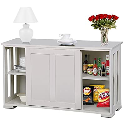 go2buy Antique White Stackable Sideboard Buffet Storage Cabinet with Sliding Door Kitchen Dining Room Furniture - LARGE STORAGE SPACE - Features with 2 sliding doors and 1 inner adjustable shelf for convenient storage. Predrilled 3 holes each side with the distance between each two is 5cm to meet your needs. You can put fruits, vegetables, and kitchenware materials for peacetime. HEAVY DUTY STRUCTURE - Dimension: 42 x 13 x 24.8'' (LxWxH); Cabinet Inner Size: 39.6 x 10.6 x 21.7'' (WxDxH); Max. Capacity: 50 Kg / 110 Lb (when static) DURABLE AND STURDY - Made of 1.5cm grade P2 MDF. Eco-friendly and free-pollution material with no foul odors. - sideboards-buffets, kitchen-dining-room-furniture, kitchen-dining-room - 51fXP9EmFiL. SS400  -