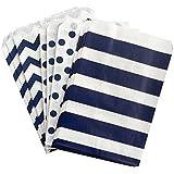 Outside the Box Papers Polka Dot, Stripe and Chevron Treat Sacks 5.5 x 7.5 48 Pack Navy Blue, White