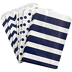Navy Blue and White Paper Treat Sacks - Chevron Stripe Polka Dot Favor Bags - 5.5 x 7.5 Inches - 48 Pack