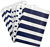 white and blue popcorn bags - Navy Blue and White Paper Treat Sacks - Chevron Stripe Polka Dot Favor Bags - 5.5 x 7.5 Inches - 48 Pack