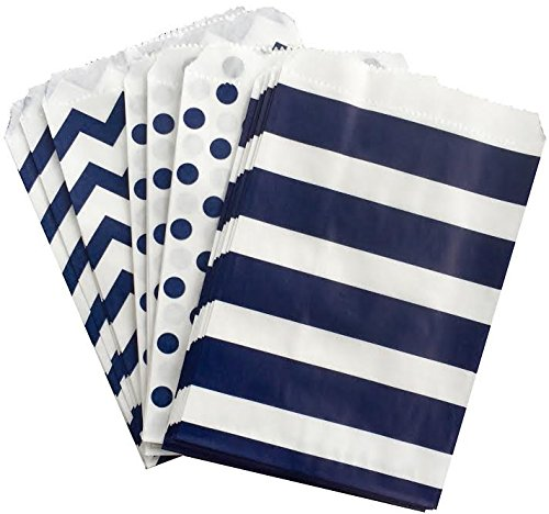 Navy Blue and White Paper Treat Sacks - Chevron Stripe Polka Dot Favor Bags - 5.5 x 7.5 Inches - 48 Pack]()
