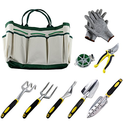 Ucharge Ucharge 9 Pieces Garden Tool Sets Include a Plant Rope and a Pair of Work Gloves