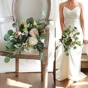 WSJS Eucalyptus Bridal Bouquet The Brigade Clutched The Flowers Home Decoration Gift Simulation Flower Bridesmaid Wedding Decoration Bouquets 74