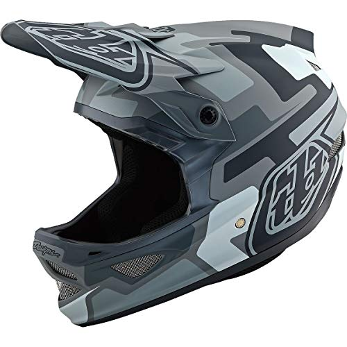 Troy Lee Designs D3 Fiberlite Speedcode Adult Off-Road BMX Cycling Helmet - Gray / 2X-Large