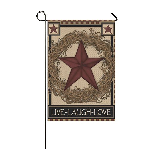 Primitive Spring - Rossne G sun Garden Flag Country Primitive Barn Star Wreath Live Laugh Love House Flag Decoration Double Sided Flag 12.5