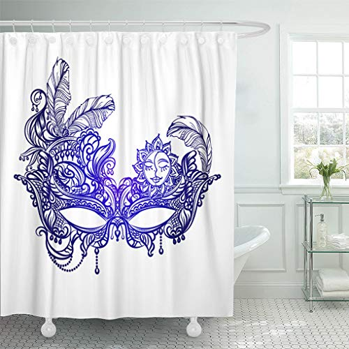 Semtomn Bathroom Decorative Shower Curtain Face Masks in The of Boho Chic Festival Mardi Waterproof with Hooks 72x78 Inches