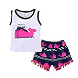 Mikrdoo Toddler Girl Summer Clothes Vest Tops Tassels Shorts 2pcs Baby Girl Outfit Suit (6-12 Months, A)
