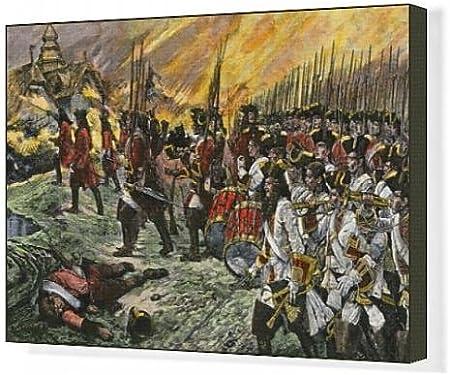 Impresión de Lienzo de batalla de Blenheim, guerra de Sucesión Española: Amazon.es: Hogar