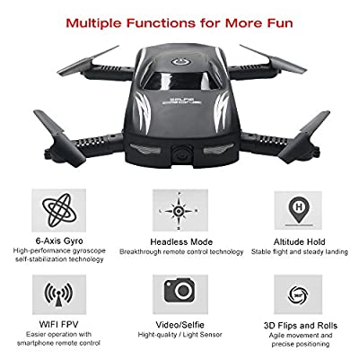 ARRIS RC Foldable Pocket Drone w/ Altitude Hold / 0.3MP HD Camera / Headless / Voice Control / G-Sensor Wifi FPV Quadcopter by Hobby-Wing