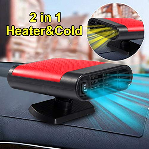 Portable Car Heater, 60 Seconds Fast Heating Quickly Cooling Fan 12V 150 W Auto Defogger Defroster Plug in Cig Lighter with 360° Rotating Base (Red, Without Air Purifier)