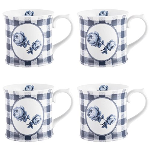 Katie Alice Vintage Indigo Gingham Floral Porcelain Mugs, 400 ml - Blue/White (Set of 4)