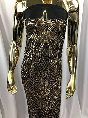 - Geometric 4 Way Stretch Sequins Fabric - Gold on Black Mesh - Shiny Sequins Fashion Design Fabric Sold by The Yard in Many Colors