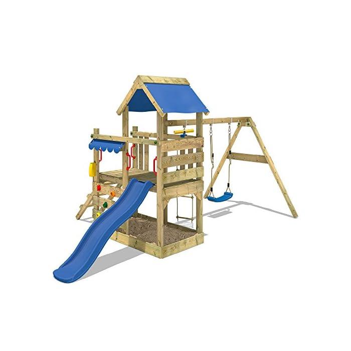 51fXQpNpZiL WICKEY Torre de escalade con columpio y tobogán - Calidad y seguridad aprobada - Varias opciones de montaje Madera maciza impregnada a presión - Poste 9x4,5cm - Poste de columpio 9x9cm - Cajón de arena integrado Instrucciones de montaje detalladas - Muro para trepar - Todos los tornillos necesarios - Toldo